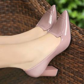 特价新款粗跟单鞋高跟鞋