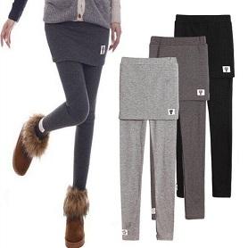 秋冬假两件打底裤裙女韩版加绒加厚外穿小脚裤显瘦弹力包臀裙裤