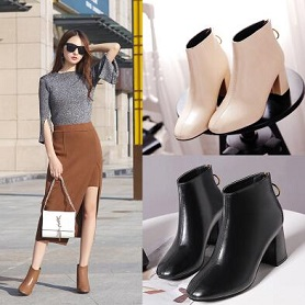 2017秋冬季韩版新款女靴方头后拉链粗跟加绒短靴女短筒靴及裸靴潮