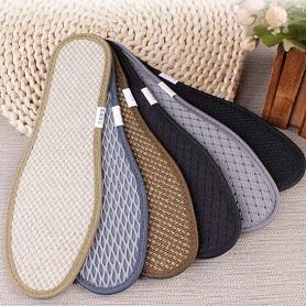 6双装亚麻竹炭鞋垫运动加厚软男女士透气吸汗防臭冬季除臭去脚臭