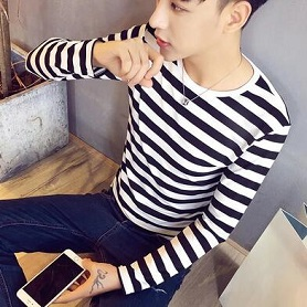 秋季男士条纹长袖T恤男韩版修身休闲圆领体恤打底衫男装上衣服 潮