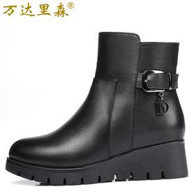 羊毛女棉鞋女短靴真皮棉鞋
