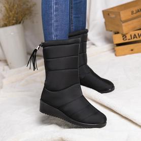 女士防水加绒女靴子加厚保暖棉鞋