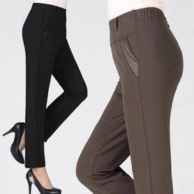 中老年女裤秋装秋冬款老年人长裤高腰中年妈妈加绒加厚奶奶直筒裤