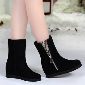 平跟磨砂雪地靴中筒靴女鞋