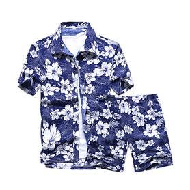 海南岛服沙滩衬衫男短袖大码夏威夷花衬衣
