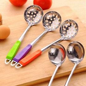 厨房用品厨具不锈钢勺子火锅勺火锅汤勺漏勺加厚款长柄勺漏勺汤勺