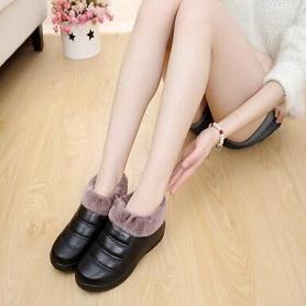 冬季老北京布鞋女鞋棉鞋保暖防水防滑厚底妈妈鞋加绒中老年棉鞋