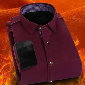 保暖衬衫男长袖加绒加厚衬衣