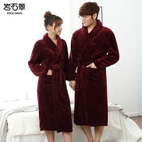 秋季冬季睡袍女加厚珊瑚绒睡衣