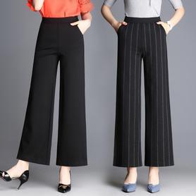 高腰条纹阔腿裤女九分裤