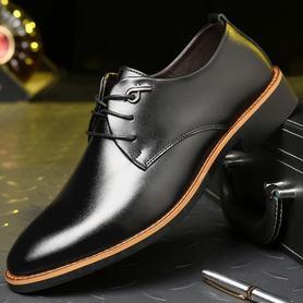 男士皮鞋男青年黑色真皮尖头男鞋