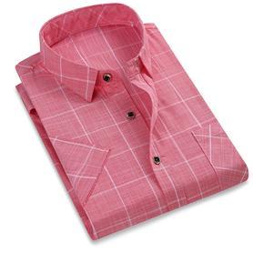 新款男士短袖衬衫棉质格子衬衣