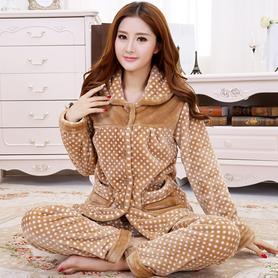 特价秋冬季加厚珊瑚绒睡衣套装