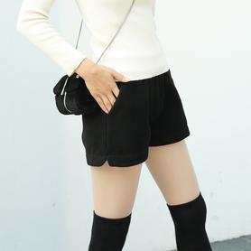 高腰阔腿短裤秋冬季毛呢裤