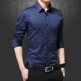 丝光棉男士长袖衬衫修身免烫衬衣