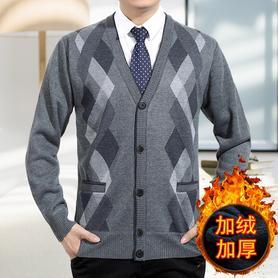 中老年V领加绒开衫毛衣外套