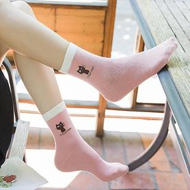 纯色纯棉中筒袜 5双