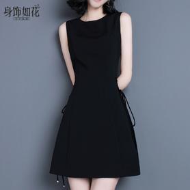修身a字无袖背心裙黑色连衣裙