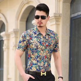 夏季短袖衬衫男士休闲免烫花衬衣