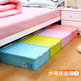 特大号床底收纳箱被子衣物整理箱加厚塑料床下储物鞋盒有盖收纳盒