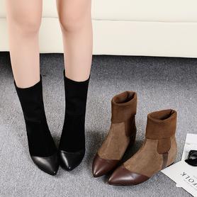 平底内增高毛线英伦真皮靴短靴