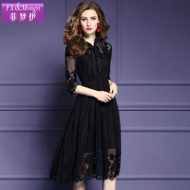 五分袖黑色蕾丝连衣裙