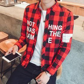 男装印花格子长袖衬衫休闲衬衣