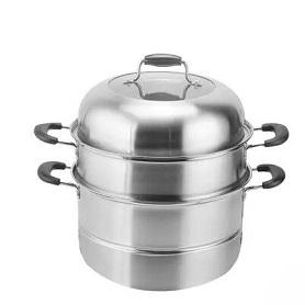 蒸锅 304不锈钢三层3层加厚复底家用2层汤锅蒸笼蒸格电磁炉通用锅