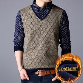 冬季加绒加厚保暖衬衫领针织衫