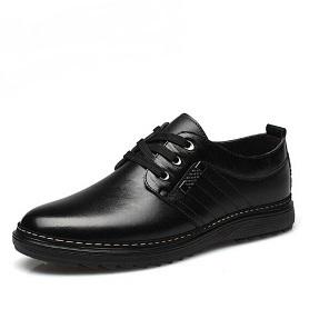 男鞋冬季潮鞋秋季男士休闲黑色皮鞋男英伦防滑加绒爸爸鞋工作鞋子