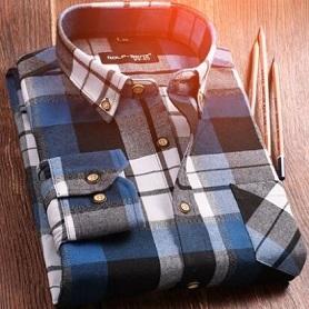 2017秋冬款男士加厚磨毛格子衬衫保暖印花加绒长袖衬衣韩版潮男装
